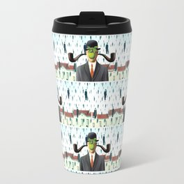Ear Smoking Apple Guy Standing in the Man Rain Travel Mug