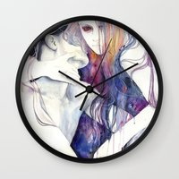 agnes cecile Wall Clocks featuring wakeful by agnes-cecile