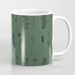 Minimal Flower Pattern Thin Line Hunter Green Coffee Mug