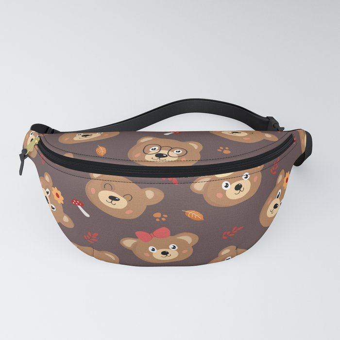Brown Bear Heads Repeating Pattern Fanny Pack