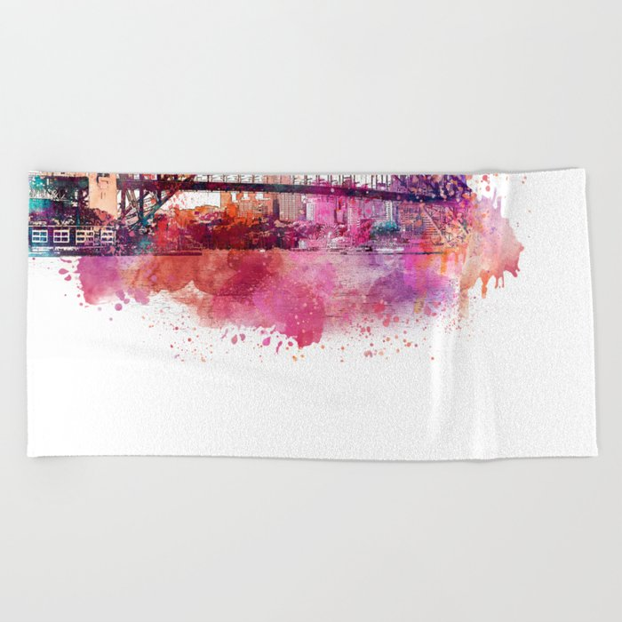 Sydney Harbor Bridge Watercolor Art Beach Towel
