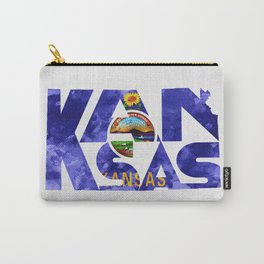 Kansas Typographic Flag Map Art Carry-All Pouch