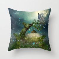 bebop Throw Pillows featuring Keeper of the Enchanted - Spring Thaw by soaring anchor designs