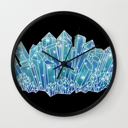 Blue/Green Crystal Cluster Wall Clock