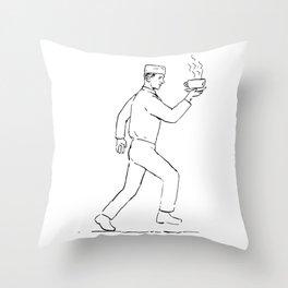 Retro Waiter Running Serving Coffee Drawing Throw Pillow