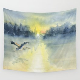 Flying Home - Great Blue Heron Wall Tapestry