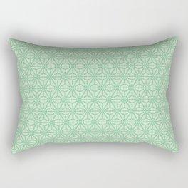 green Japanese Hemp Kimono Pattern Tie Dye Bitta Rectangular Pillow