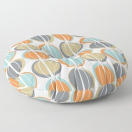 Mid Century Modern Geometric Shapes in Retro Stripes Muted Orange Gray Turquoise Beige Floor Pillow