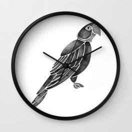 Perched Parrot – Black Palette Wall Clock