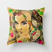 dots Throw Pillows featuring Dots by Irmak Akcadogan
