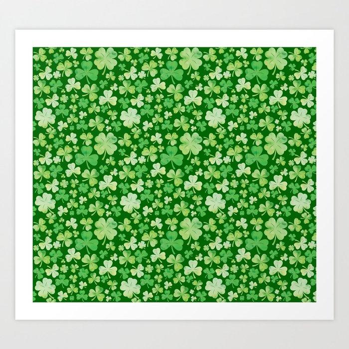 Lucky Green Watercolour Shamrock Pattern Kunstdrucke