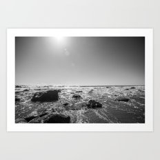 Sun, Water, Rocks, and Sand (Black and White) Art Print