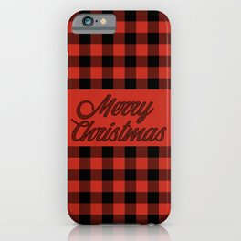 Merry Christmas Classic Red and Black Buffalo Check Pattern iPhone Case