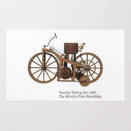 Daimler Riding Car, 1885. The world's first motorbike. Rug