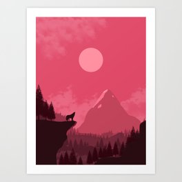 2D Wolf Amongst Mountain Ranges and Sunset - Pink Art Print