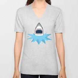 Cartoon Shark Splash Unisex V-Neck