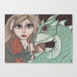 Fairy and Dragon Canvas Print
