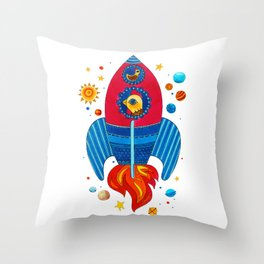 Farm animals in space - Cock Throw Pillow