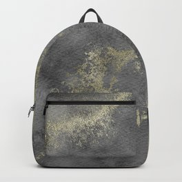 Marble Gold Watercolour Monochrome Abstract Art Print Backpack
