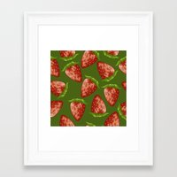 strawberry Framed Art Prints featuring Strawberry by Julia Badeeva