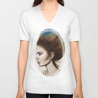 ombre V-neck T-shirts featuring Ombre Hair by Halinka H