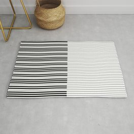 The Piano Black and White Keyboard with Horizontal Stripes Rug