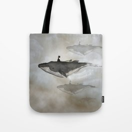Awesome whale with women flying in the sky Tote Bag