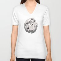 sofa V-neck T-shirts featuring White Trash by pixel404