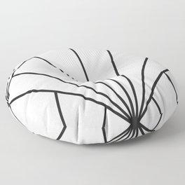Diamond Series Sun Burst Charcoal on White Floor Pillow