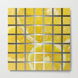 Lemon Slices & Square Grid Collage Metallic Metal Print