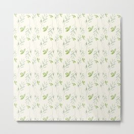 Hand painted watercolor pastel green ivory leaves floral Metal Print