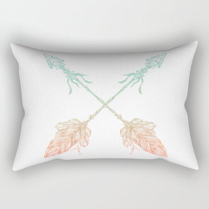 Arrows Turquoise Coral on White Rectangular Pillow