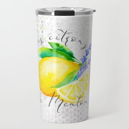 Les Citrons de Menton—Lemons and Lavender, Provence Travel Mug