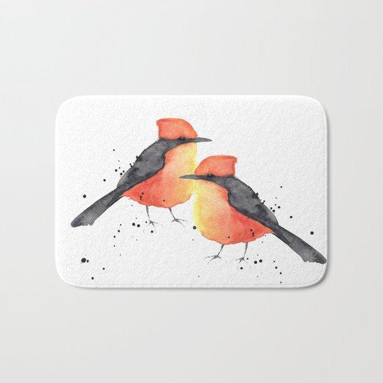 Vermilion flycatcher Bath Mat