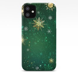 Gold Snowflakes on a Green Background iPhone Case