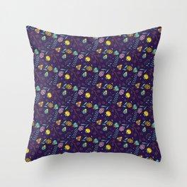 Flora & Beetles (purple) Throw Pillow