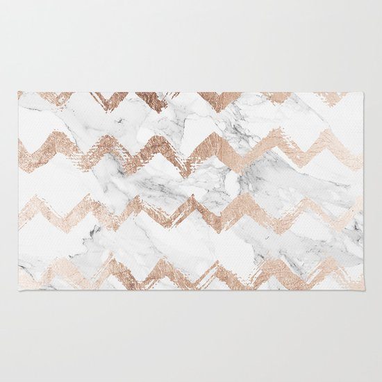 Chic faux rose gold chevron white marble pattern Rug