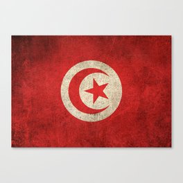 Old and Worn Distressed Vintage Flag of Tunisia Canvas Print