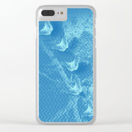Butterflies and ghost tree in blue Clear iPhone Case