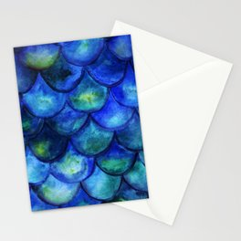 Blue Watercolor Mermaid Stationery Cards