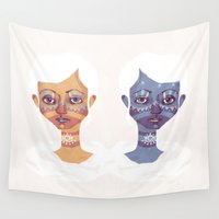 twins Wall Tapestries featuring The Twins by Hayley Powers Studio