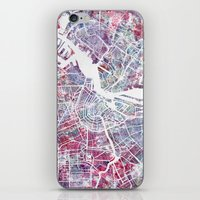 amsterdam iPhone & iPod Skins featuring Amsterdam by MapMapMaps.Watercolors