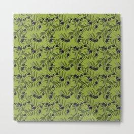 Black Olives Pattern Green Metal Print