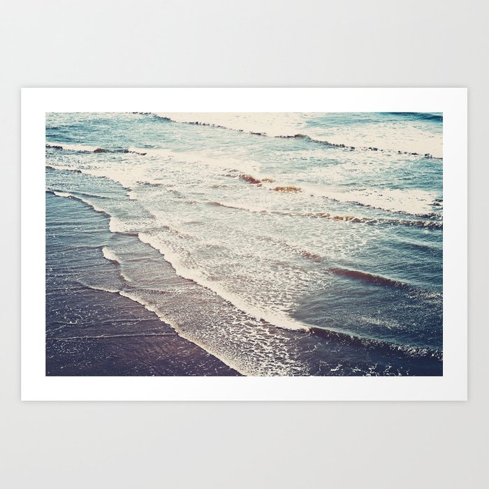 Ocean Waves Retro Art Print