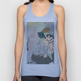 Sun Bleached Army Green Leaves Unisex Tank Top