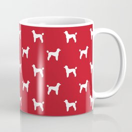 Poodle silhouette red and white minimal modern dog art pet portrait dog breeds Coffee Mug