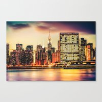 new york skyline Canvas Prints featuring New York City Skyline by Vivienne Gucwa