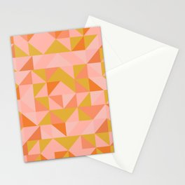 Deconstructed Triangle Pattern in Coral and Peach Stationery Cards