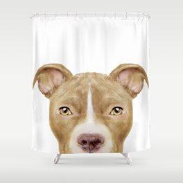 Pit Bull light Brown 2,Dog illustration original painting print Shower Curtain