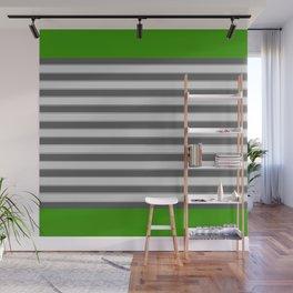 Green Black White Stripes Wall Mural